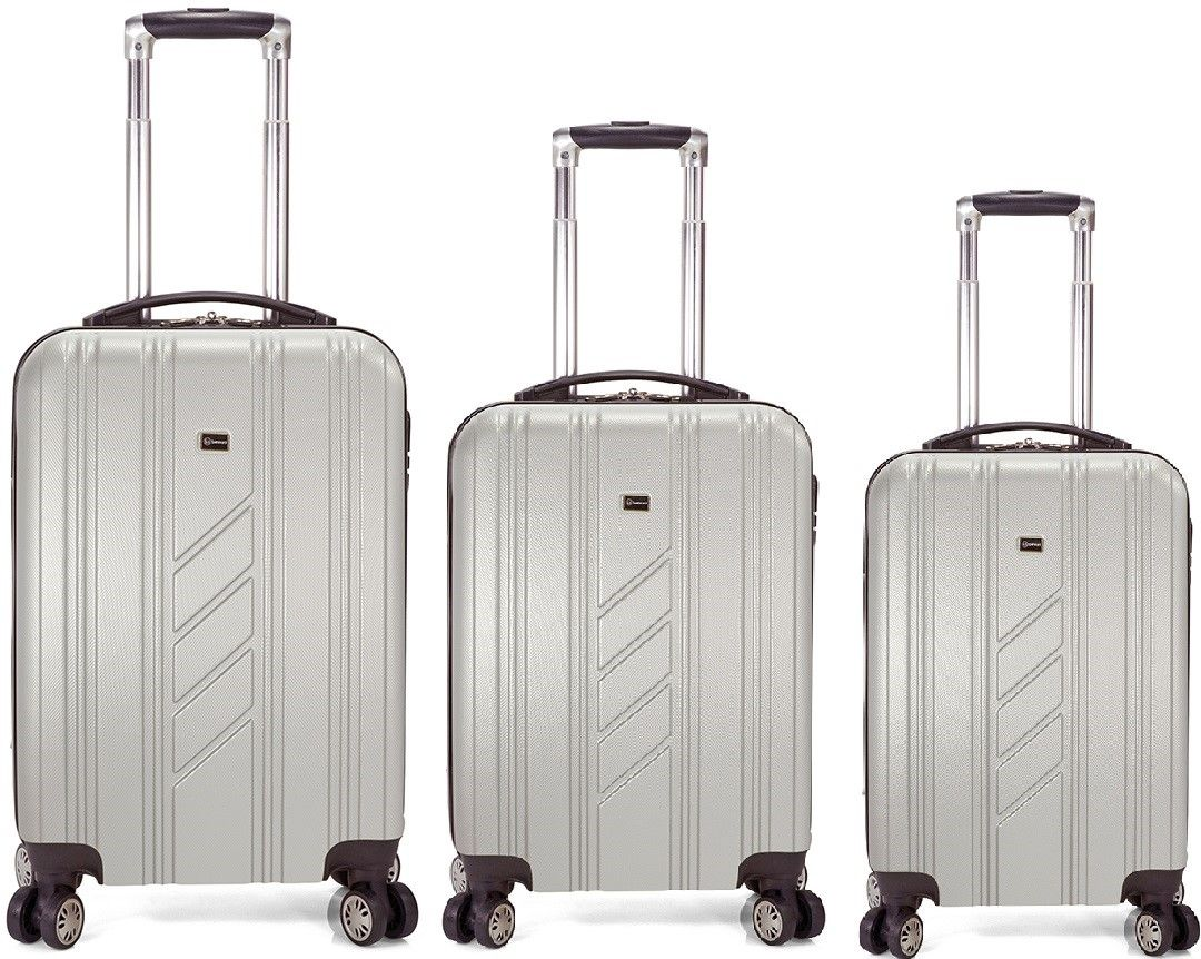 Σετ Βαλιτσες 55-60-70 με 4 Διπλες Ροδες Benzi BZ5154 Ασημι ειδη ταξιδιου   βαλίτσες   βαλίτσες   σετ βαλίτσες ταξιδίου