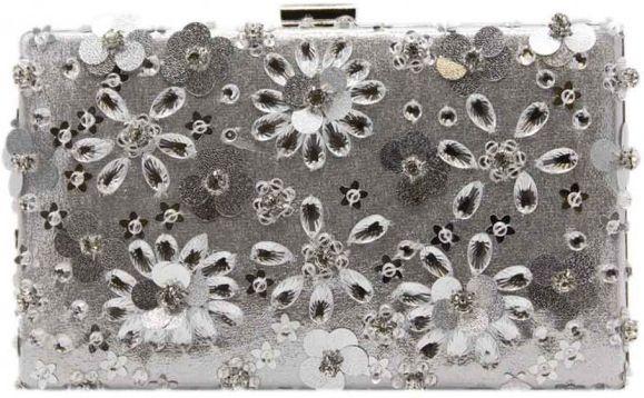 Τσαντακι Clutch 3D Flowers Tom & Eva 17E-1664 Ασημί γυναικείες τσάντες   φάκελοι clutch bags