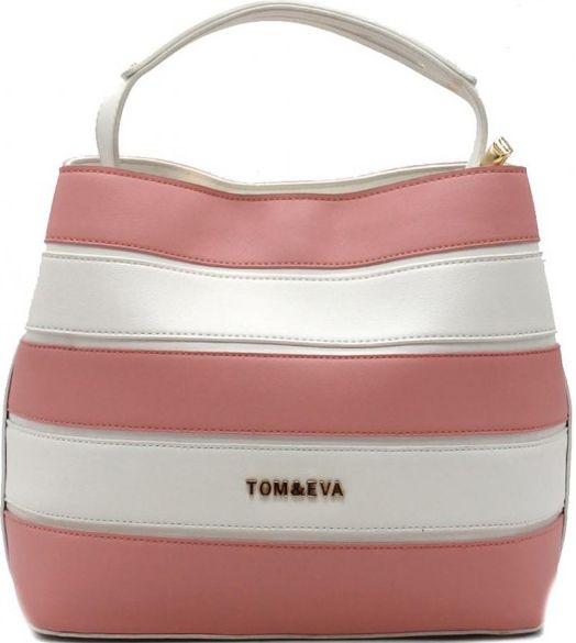 Τσάντα Χειρός Tom & Eva 6466 Ροζ/Λευκή γυναίκα   τσάντες ώμου   χειρός