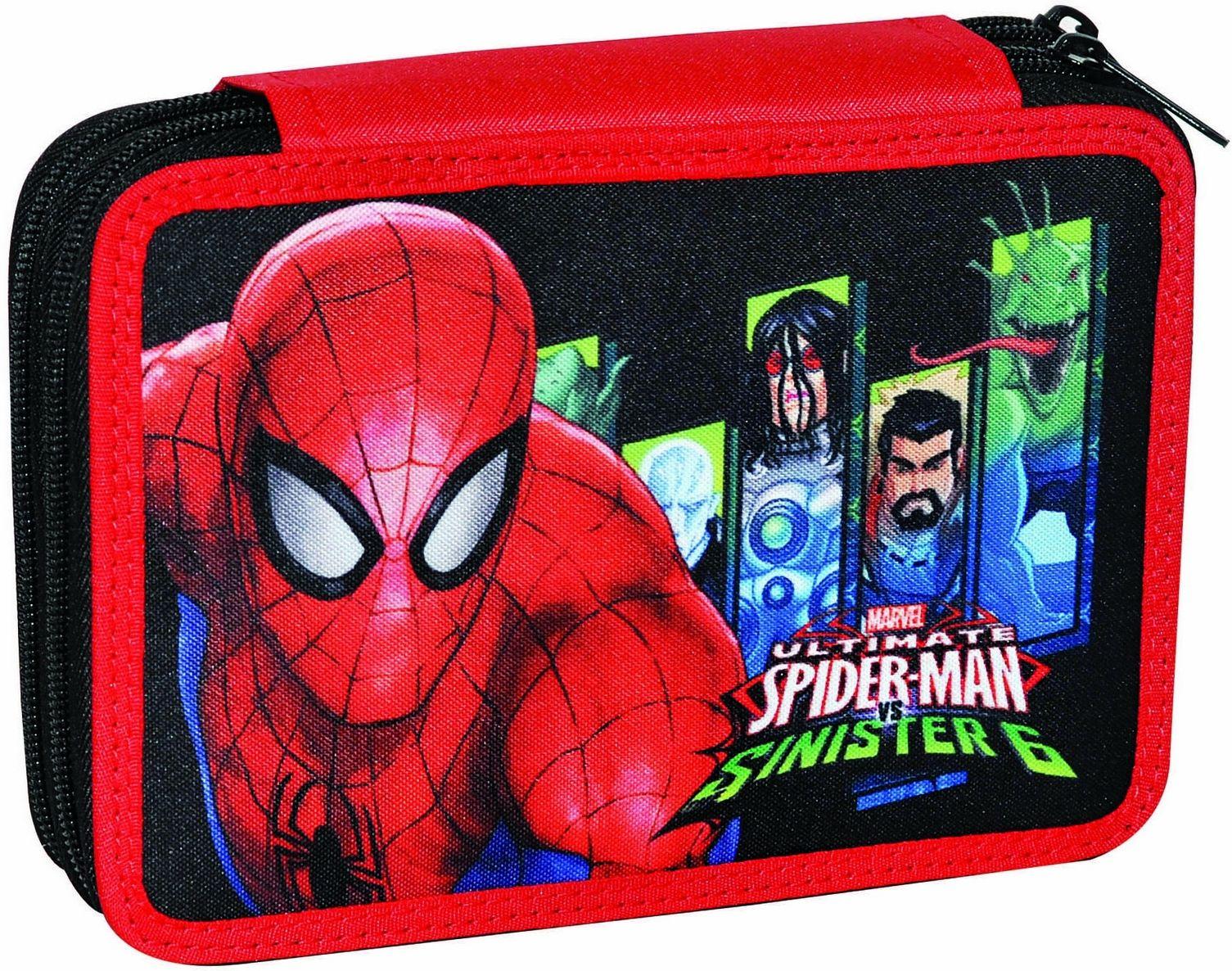 Κασετινα Διπλη Γεματη Spiderman Sinister 337-66100 σχολικες τσαντες   τσάντες δημοτικού   κασετίνες
