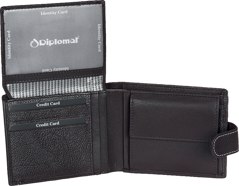 869c3b8308 Οριζόντιο Ανδρικό Πορτοφόλι με Κούμπωμα MN 302 Diplomat Μαυρο ...