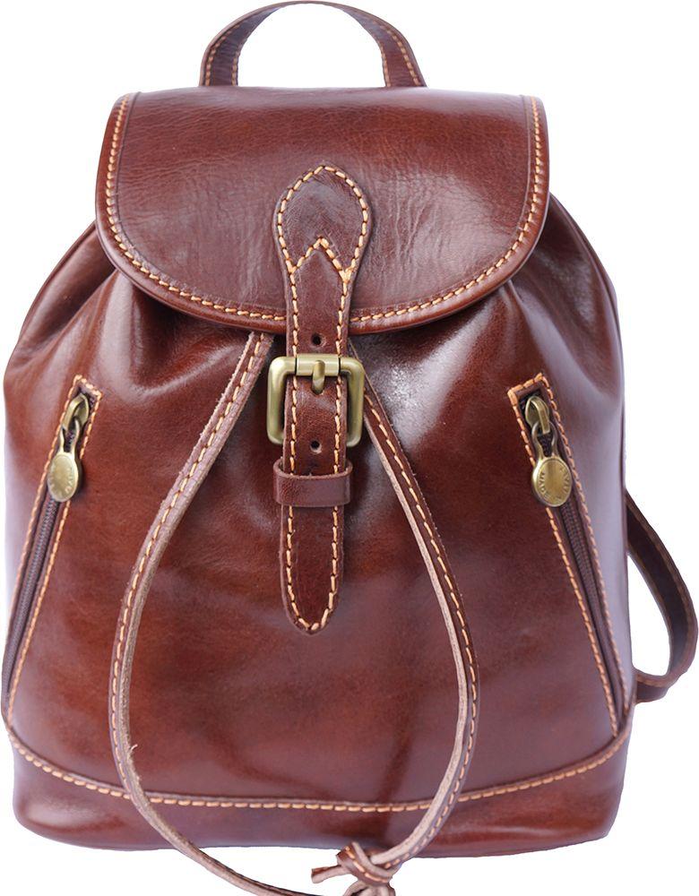 Δερμάτινη Τσάντα Πλάτης Luminosa Firenze Leather 6559 Καφε γυναίκα   τσάντες πλάτης