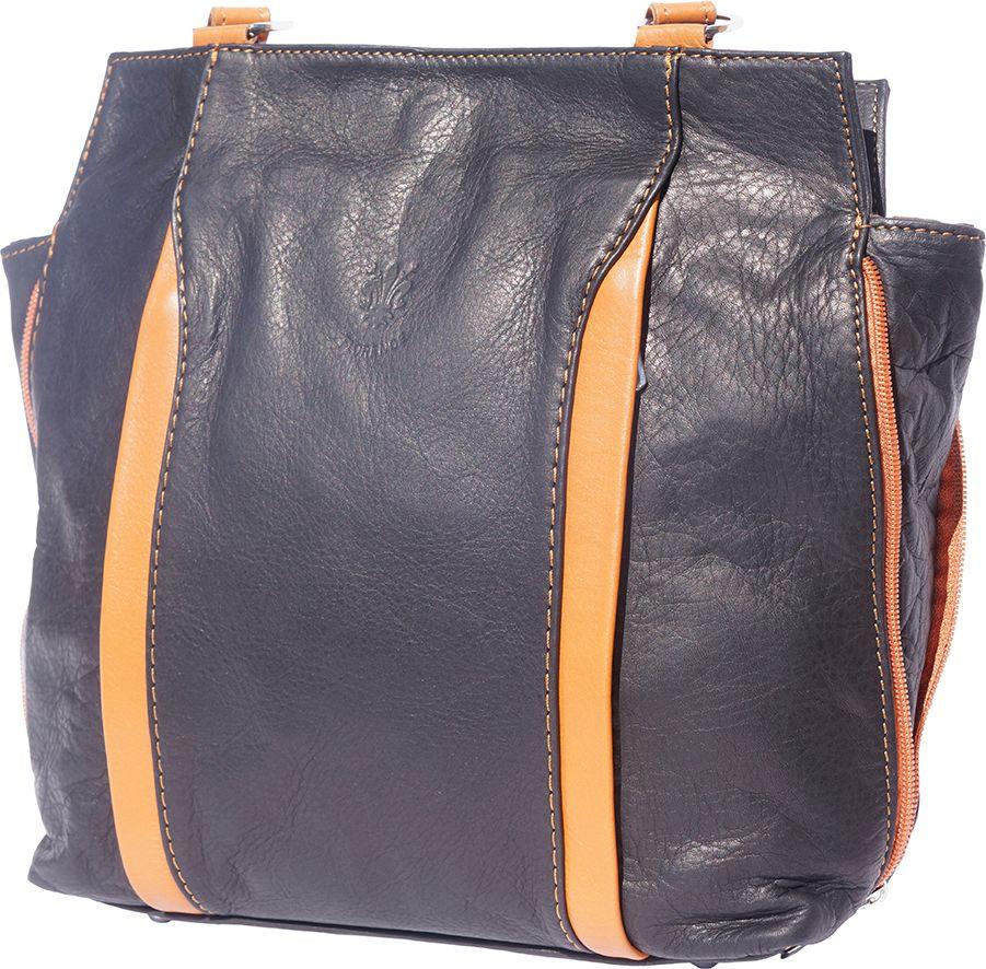 Δερματινη Τσαντα Ωμου Berri Firenze Leather B017 Μαύρο Μπεζ dcd9bd7a92b