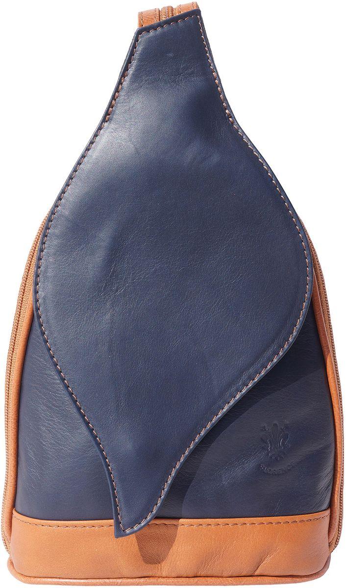 9b02a525a1a Δερμάτινη Τσάντα Πλάτης Foglia GM Firenze Leather 2060 Σκουρο Μπλε/Μπεζ