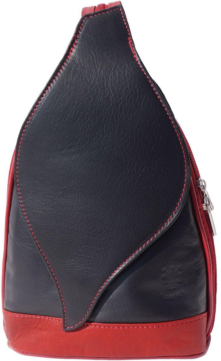 Δερμάτινη Τσάντα Πλάτης Foglia GM Firenze Leather 2060 Μαύρο/Κόκκινο γυναίκα   τσάντες πλάτης