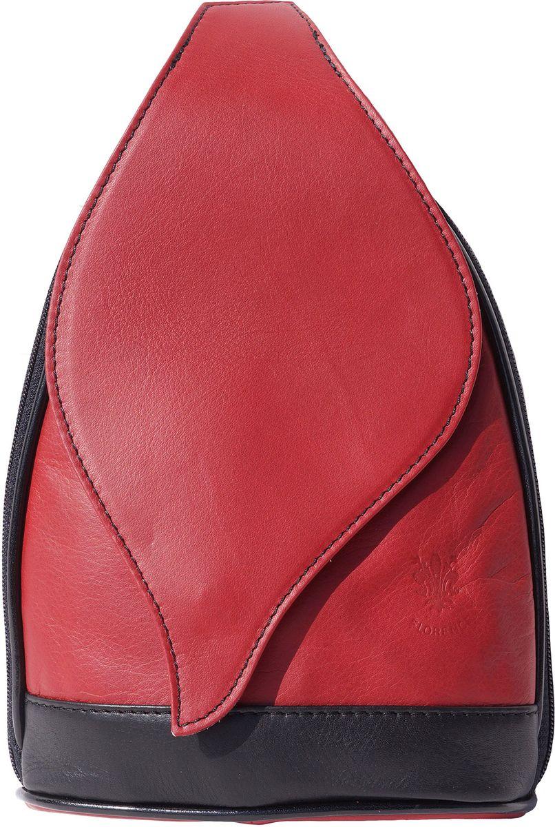 b1b54dbcaa Δερμάτινη Τσάντα Πλάτης Foglia GM Firenze Leather 2060 Κόκκινο Μαύρο ...