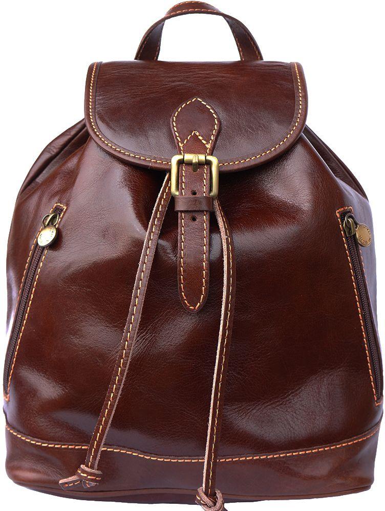 Δερμάτινη Τσάντα Πλάτης Luminosa GM Firenze Leather 6560 Σκουρο Καφε γυναίκα   τσάντες πλάτης