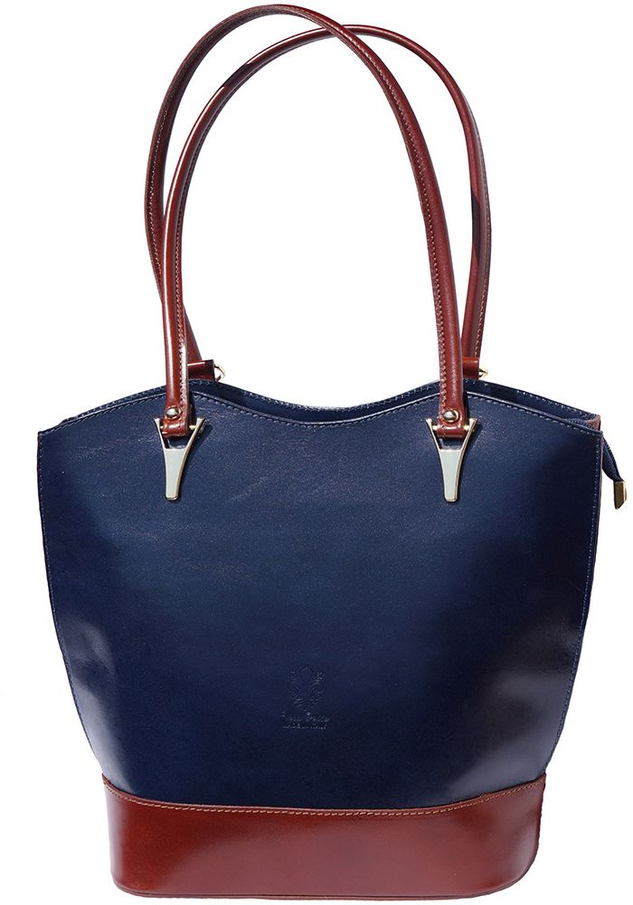 f80fc23b0f Δερμάτινη Τσαντα Ωμου Greta Firenze Leather 208 Σκουρο Μπλε Καφε