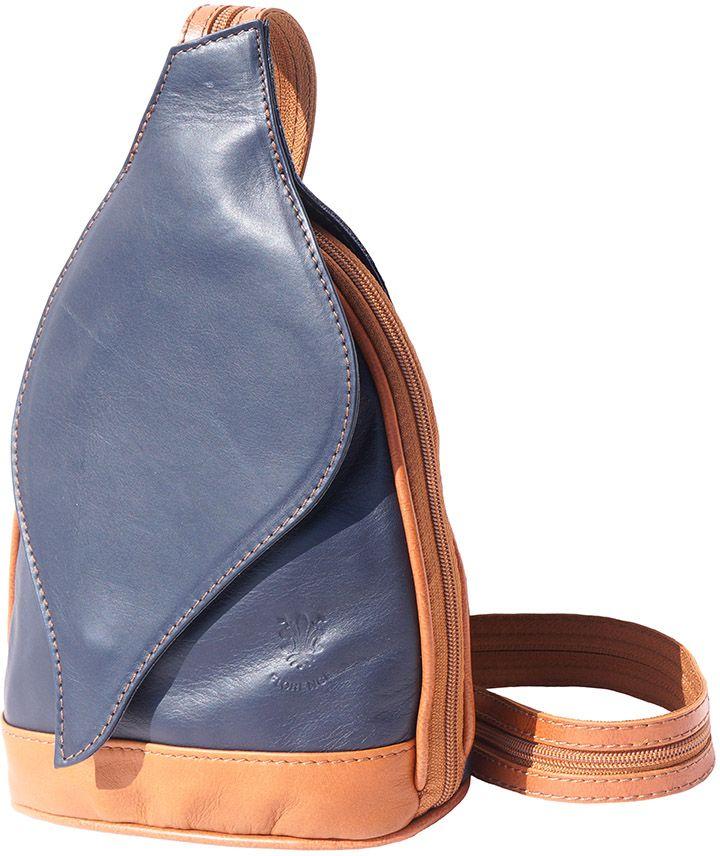 4f2537dbed Δερμάτινη Τσάντα Πλάτης Foglia Firenze Leather 2015 Σκουρο Μπλε Μπεζ ...