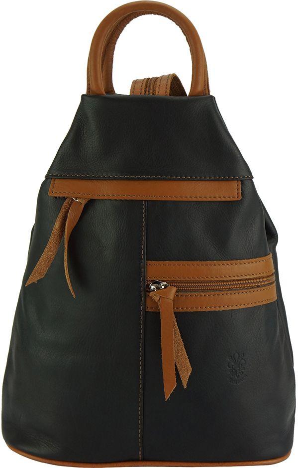 Δερμάτινη Τσάντα Πλάτης Sorbonne Firenze Leather 2064 Μαύρο/Μπεζ γυναίκα   τσάντες πλάτης