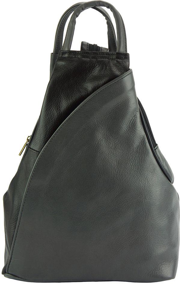 Δερμάτινη Τσάντα Πλάτης Antonella Firenze Leather 2065 Γκρι/Μαύρο γυναίκα   τσάντες πλάτης