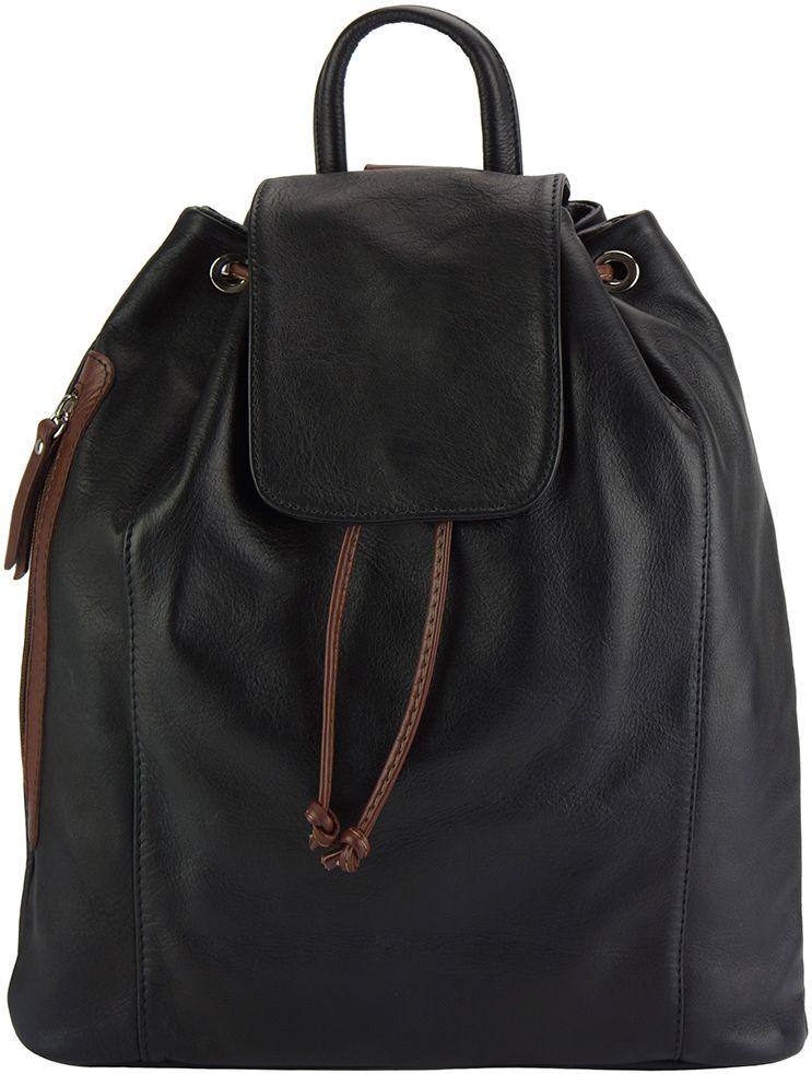 c3d4e414d0 Δερμάτινη Τσάντα Πλάτης Ginevra Firenze Leather 2066 Μαύρο Καφε