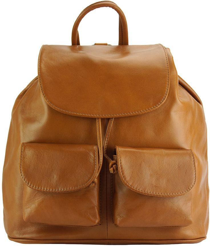Δερμάτινη Τσάντα Πλάτης Irene Firenze Leather 2068 Μπεζ γυναίκα   τσάντες πλάτης