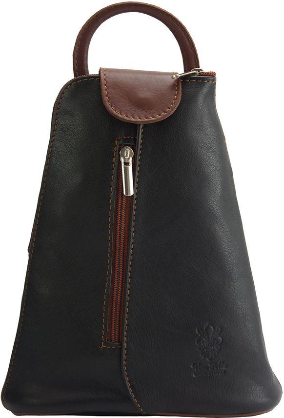 Δερμάτινη Τσάντα Πλάτης Michela Firenze Leather 2001 Μαύρο/Καφε γυναίκα   τσάντες πλάτης
