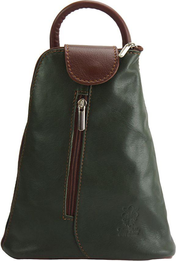Δερμάτινη Τσάντα Πλάτης Michela Firenze Leather 2001 Σκουρο Πρασινο/Καφε γυναίκα   τσάντες πλάτης