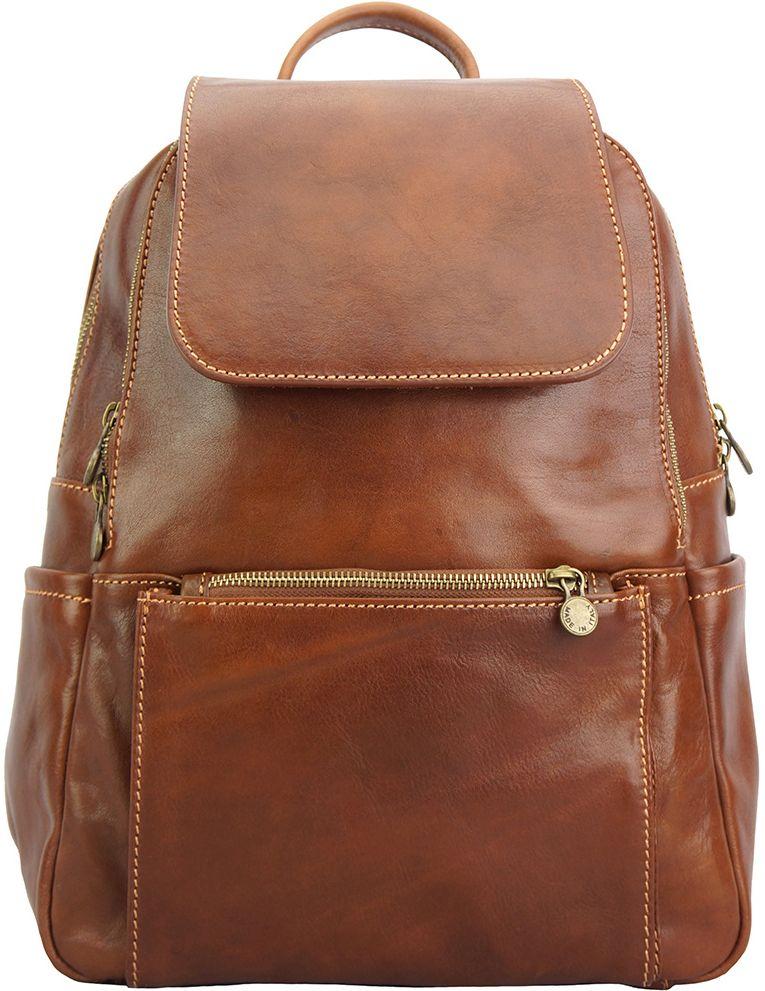 Δερμάτινη Τσάντα Πλάτης Brittany Firenze Leather 6566 Καφε γυναίκα   τσάντες πλάτης