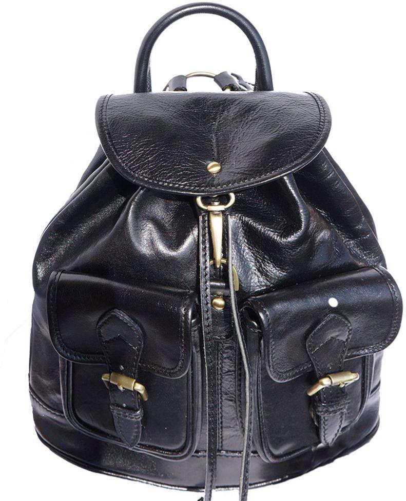 Δερμάτινη Τσάντα Πλάτης Davide Firenze Leather 6554 Μαύρο γυναίκα   τσάντες πλάτης