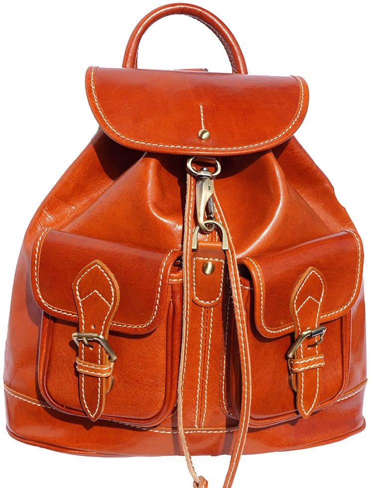 Δερμάτινη Τσάντα Πλάτης Davide Firenze Leather 6554 Μπεζ γυναίκα   τσάντες πλάτης