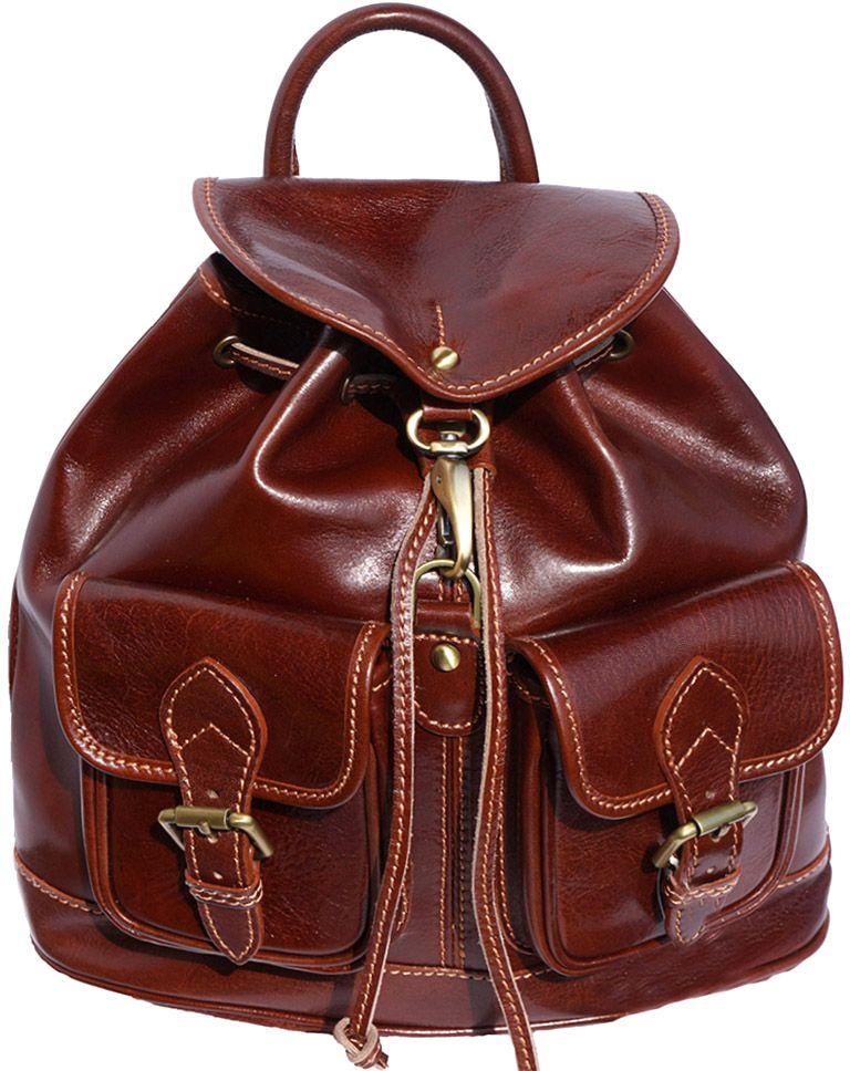 Δερμάτινη Τσάντα Πλάτης Davide Firenze Leather 6554 Καφε γυναίκα   τσάντες πλάτης