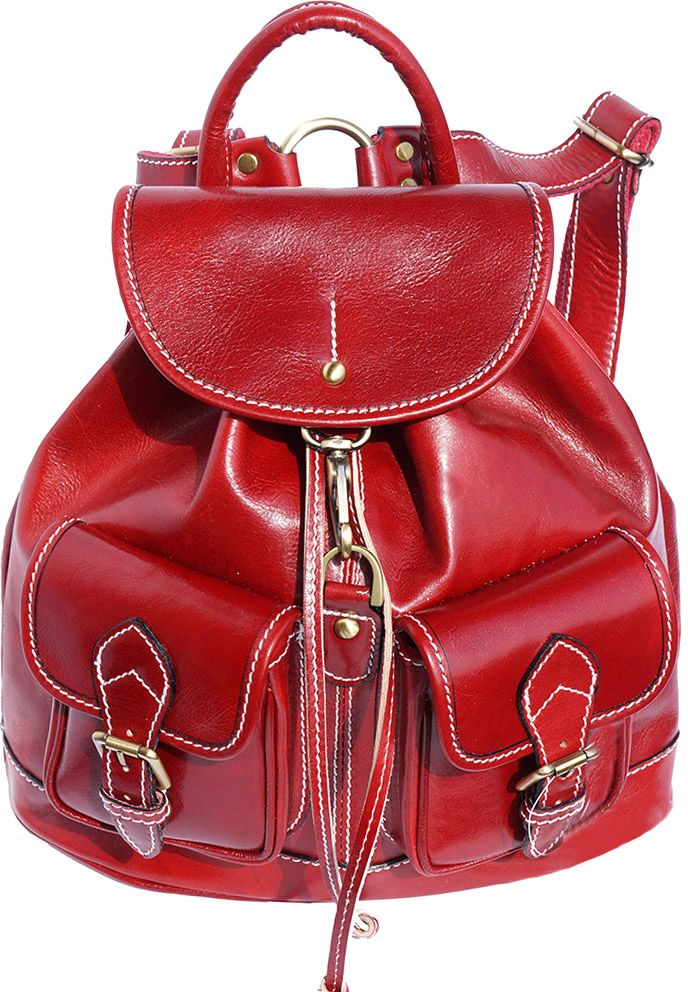 Δερμάτινη Τσάντα Πλάτης Davide Firenze Leather 6554 Κόκκινο γυναίκα   τσάντες πλάτης