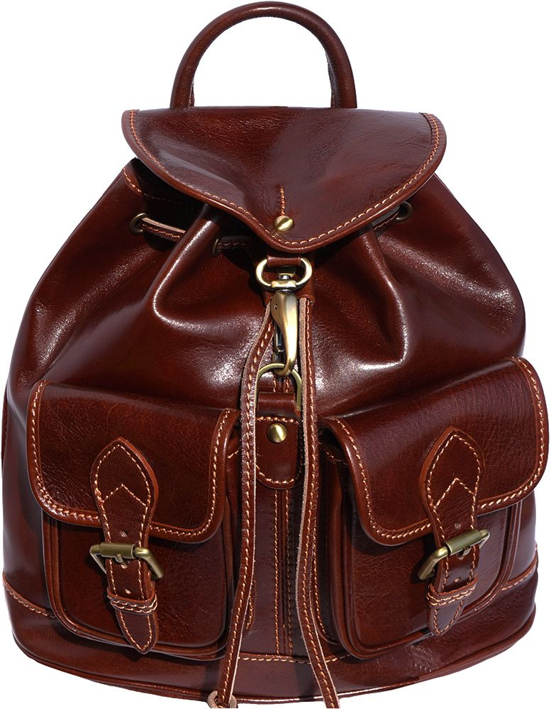 Δερμάτινη Τσάντα Πλάτης Davide Firenze Leather 6554 Σκουρο Καφε γυναίκα   τσάντες πλάτης