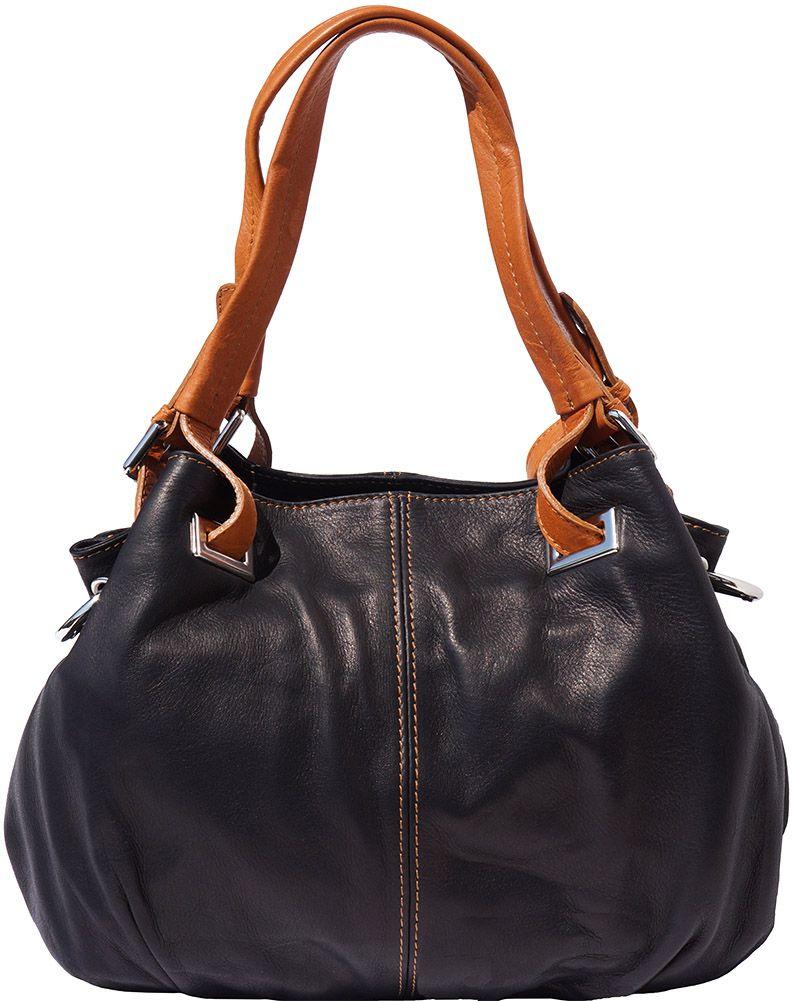 Δερμάτινη Τσαντα Ωμου Valentina Firenze Leather 8655 Μαύρο/Μπεζ