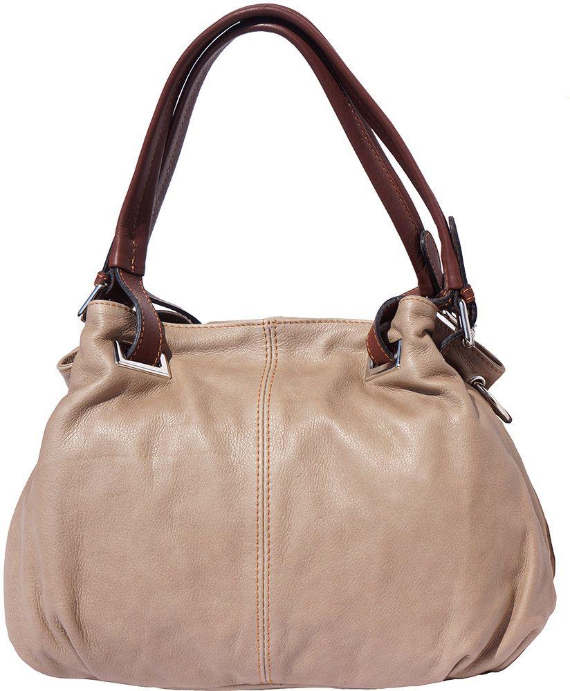 e4d13d07d1 Δερμάτινη Τσαντα Ωμου Valentina Firenze Leather 8655 Σκούρο Μπεζ Καφε ...