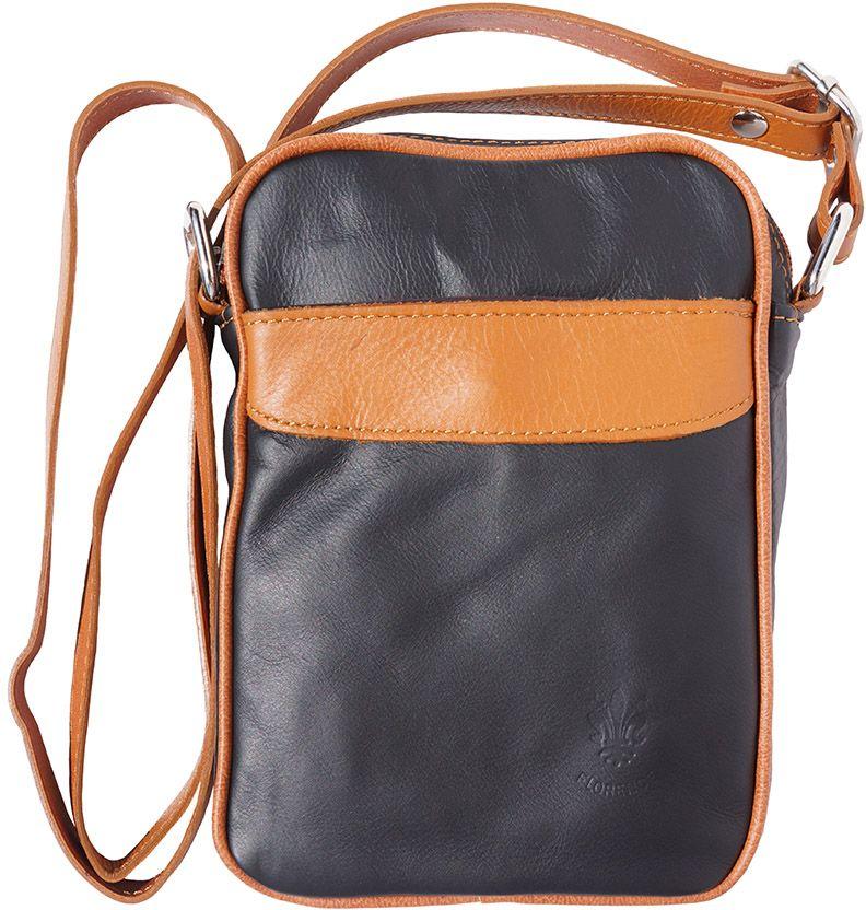 3d61810327 Ανδρικο Δερματινο Τσαντακι Ωμου Firenze Leather B032 Μαύρο Μπεζ