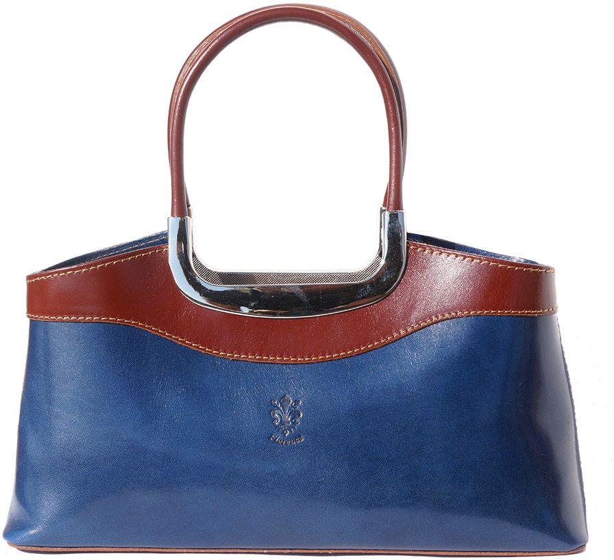 Δερμάτινη Τσάντα Χειρός Eleganza Firenze Leather 200 Σκουρο Μπλε Καφε ... 13ba8ebab3e
