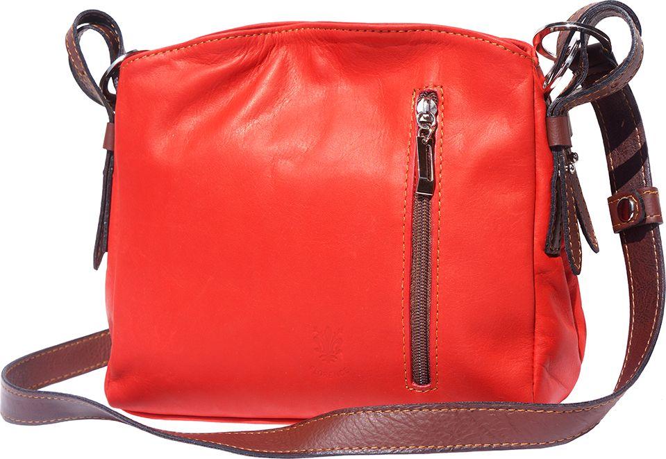 Δερματινη Τσαντα Ωμου Viviana Firenze Leather B016 Κόκκινο/Καφε