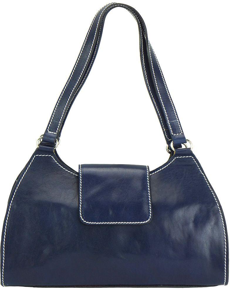 Τσαντα Ωμου Δερμάτινη Floriana Firenze Leather 6414 Σκουρο Μπλε