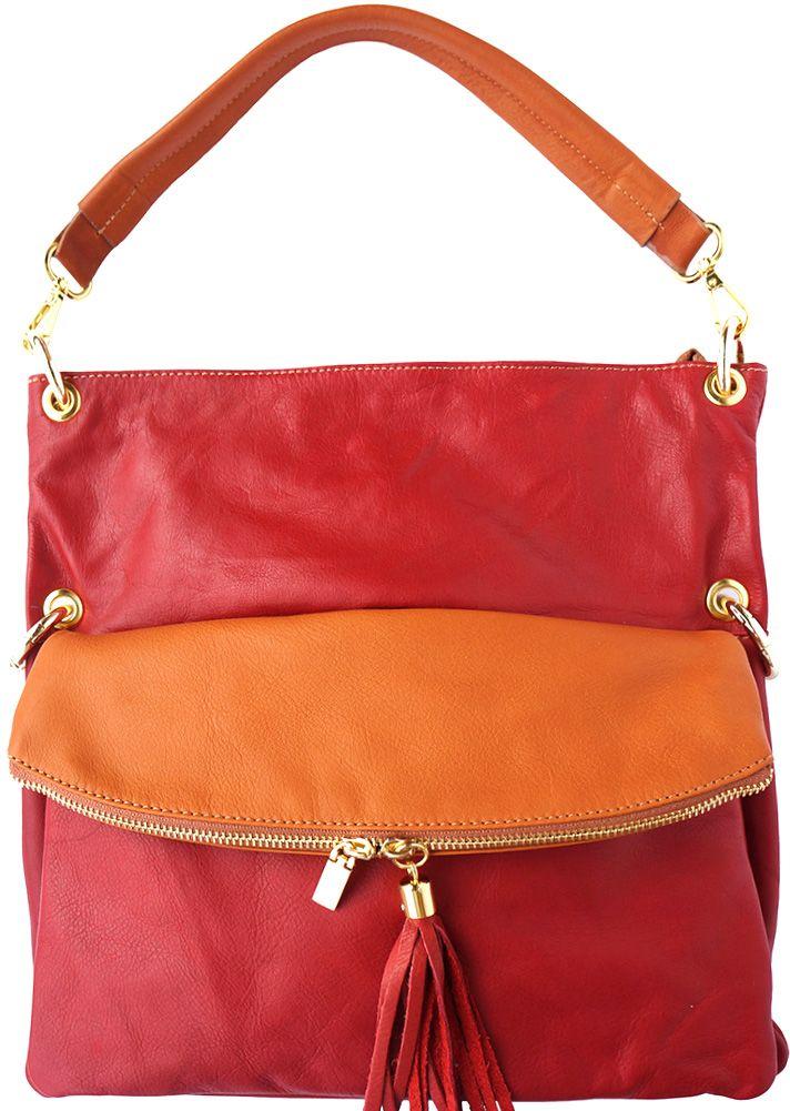 f460e5727c Δερμάτινη Τσάντα Ωμου Monica Firenze Leather 3117 Κόκκινο Μπεζ