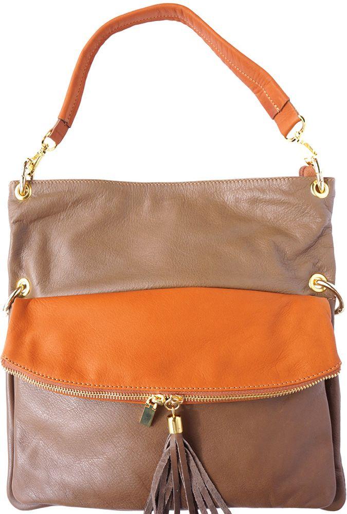 Δερμάτινη Τσάντα Ωμου Monica Firenze Leather 3117 Σκουρο  Μπεζ 31a36a5bd97