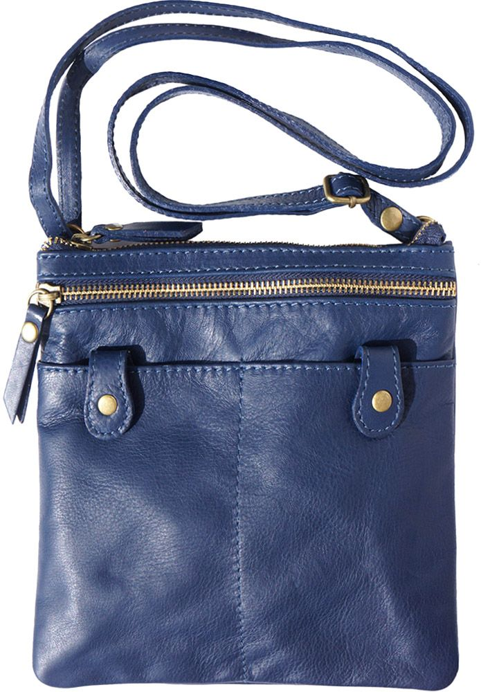 df5ad3cc7f Δερμάτινο Τσαντακι Ωμου Wanda Firenze Leather 415 Σκουρο Μπλε