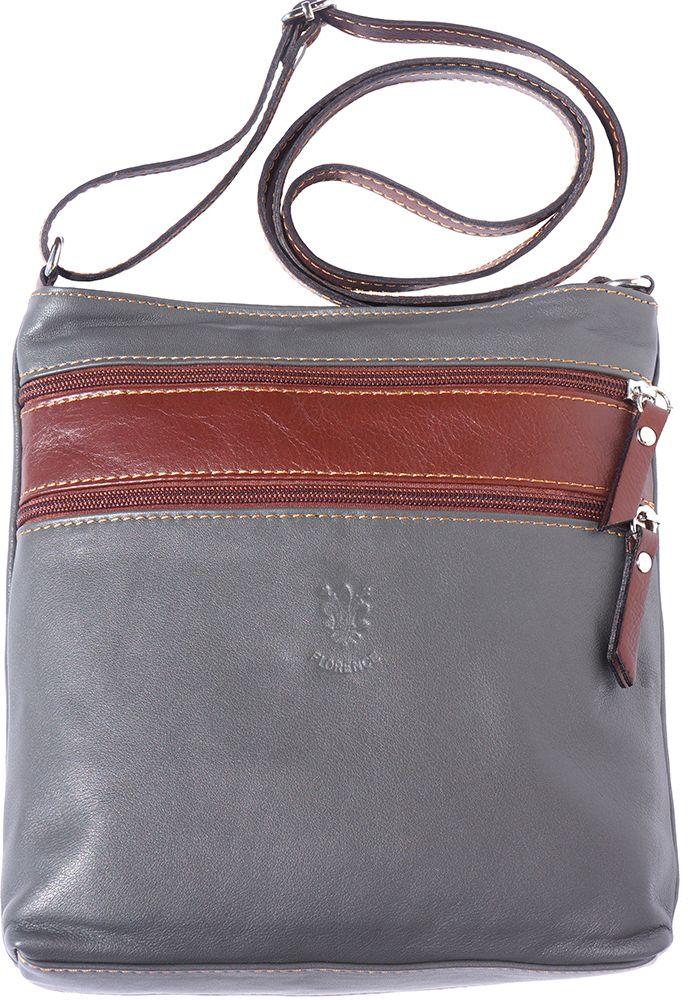d73b6ad182 Δερματινο Τσαντακι Ωμου Chiara Firenze Leather 8676 Γκρι Καφε