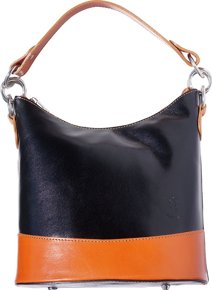 ebf83673a5 Δερματινη Τσαντα Ωμου Simona Firenze Leather 8687 Μαύρο Μπεζ