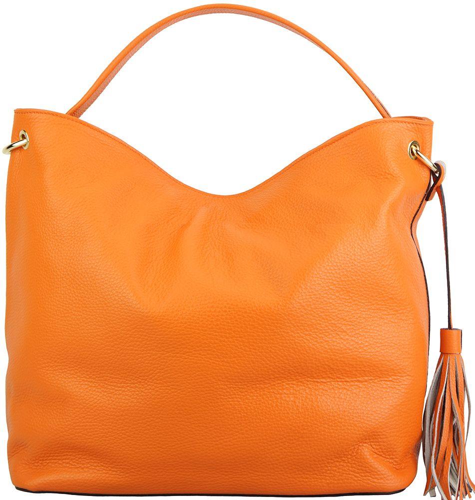 e96d2671eb Δερματινη Τσαντα Ωμου Mazarine Firenze Leather 5758 Πορτοκαλι