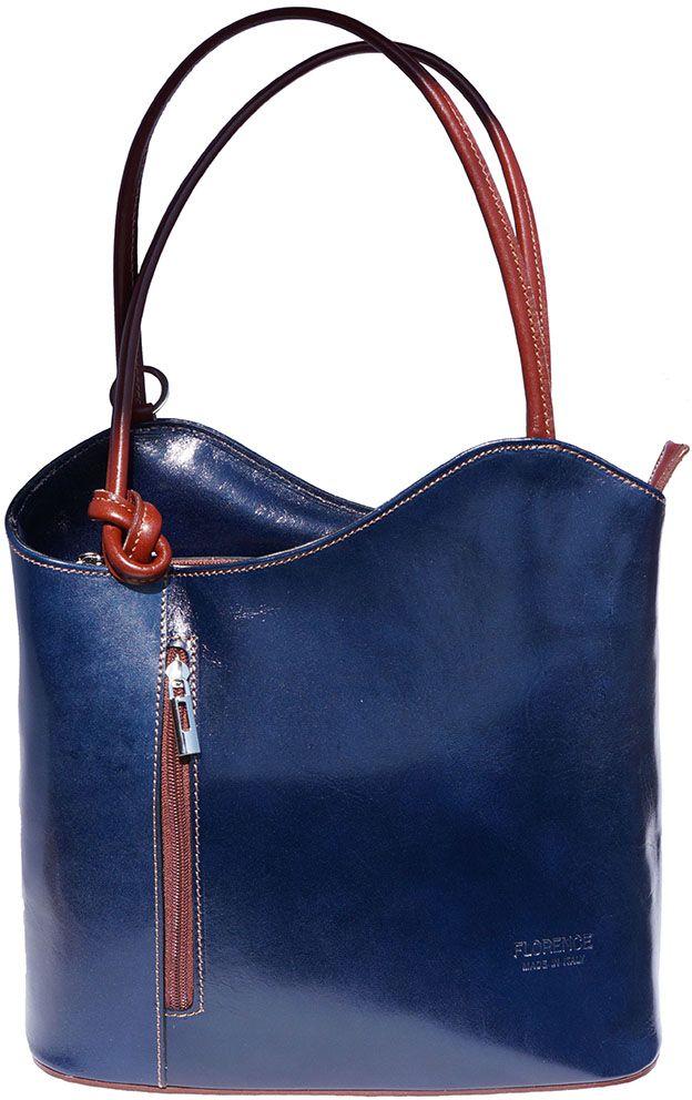 c2c4aa5132 Δερμάτινη Τσαντα Ωμου Cloe Firenze Leather 207 Σκουρο Μπλε Καφε ...