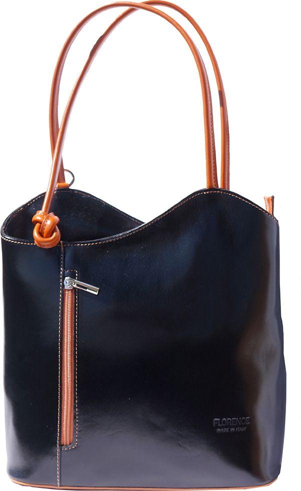 Δερμάτινη Τσαντα Ωμου Cloe Firenze Leather 207 Μαύρο/Μπεζ γυναίκα   τσάντες ώμου   χειρός