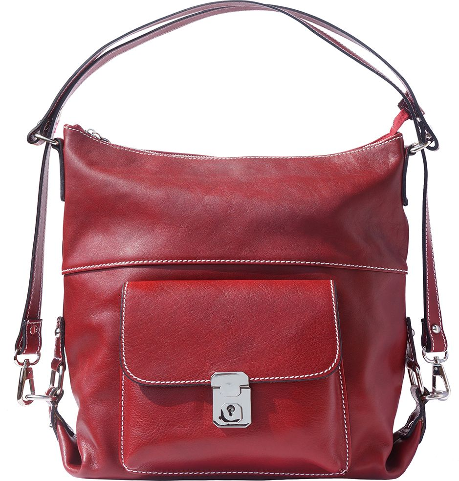 Bagz Δερμάτινη Τσάντα Ωμου Barbara Firenze Leather 6563 Σκουρο Κόκκινο cc1acefc123