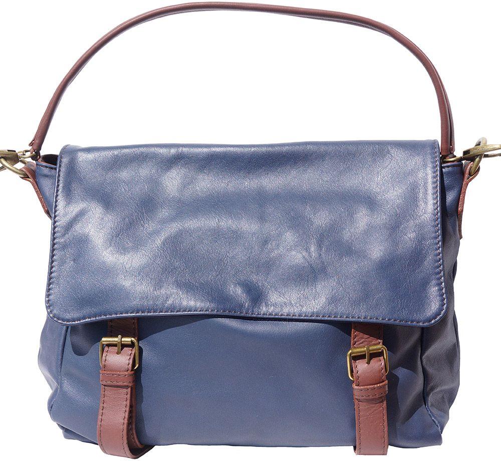 Δερματινη Τσαντα Ωμου Freestyle Firenze Leather 6141 Σκουρο Μπλε Καφε ... 46edcbebac0