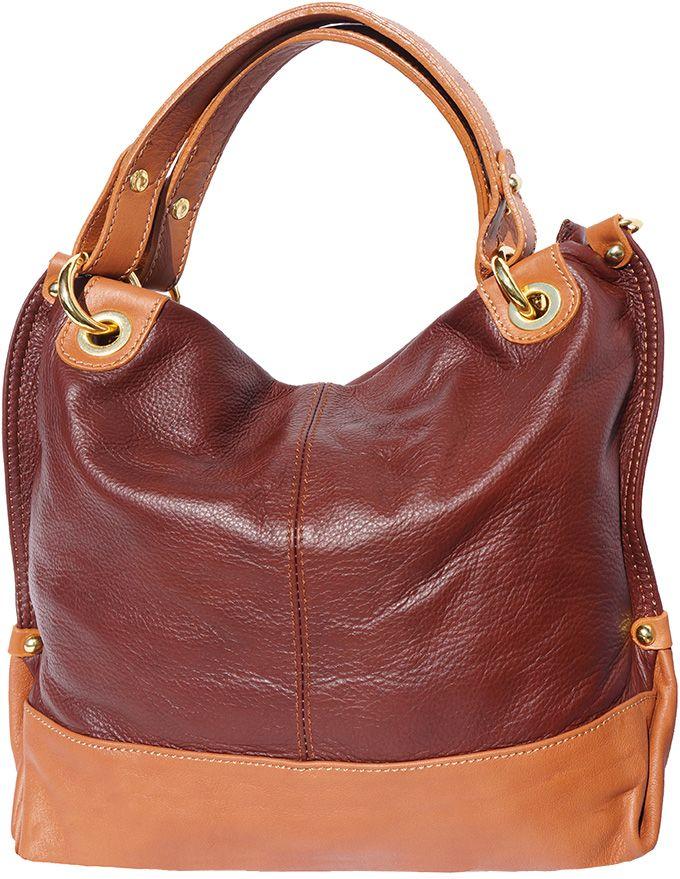 2db0dfdf32 Δερμάτινη Τσάντα Χειρός Alice Firenze Leather 8005 Καφε Μπεζ