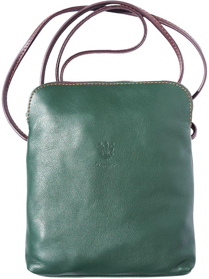 Δερματινο Τσαντακι Ωμου Mia Gm Firenze Leather 8610 Σκουρο Πρασινο/Καφε