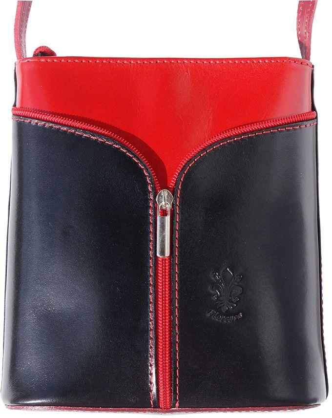 effbfd836e Δερματινη Τσαντα Ωμου Florence Firenze Leather 203 Μαύρο Κόκκινο