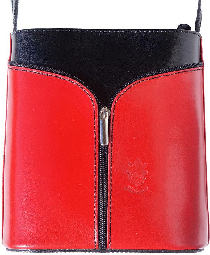 Δερματινη Τσαντα Ωμου Florence Firenze Leather 203 Κόκκινο/Μαύρο