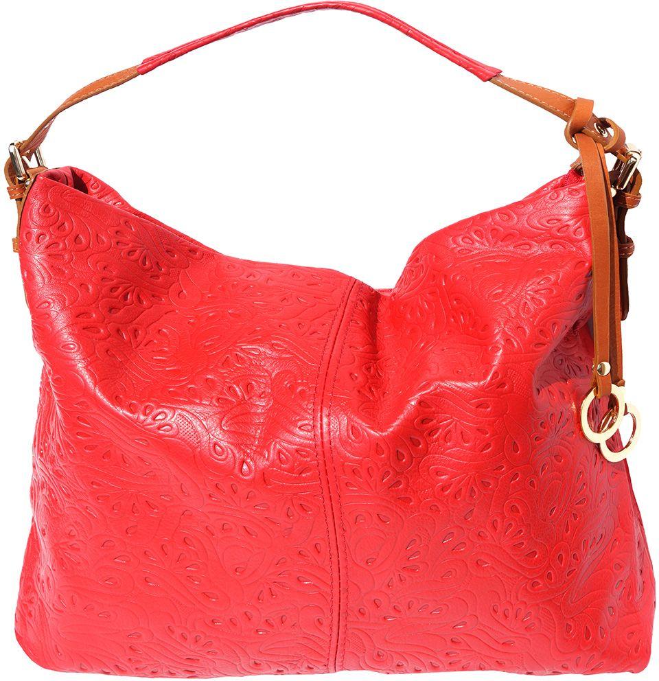 Δερματινη Τσαντα Ωμου Debora Firenze Leather 8001s Κόκκινο/Μπεζ