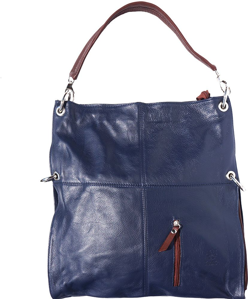 baa10cf5ab Δερματινη Τσαντα Ωμου Hobo Firenze Leather 3019 Σκουρο Μπλε Καφε ...