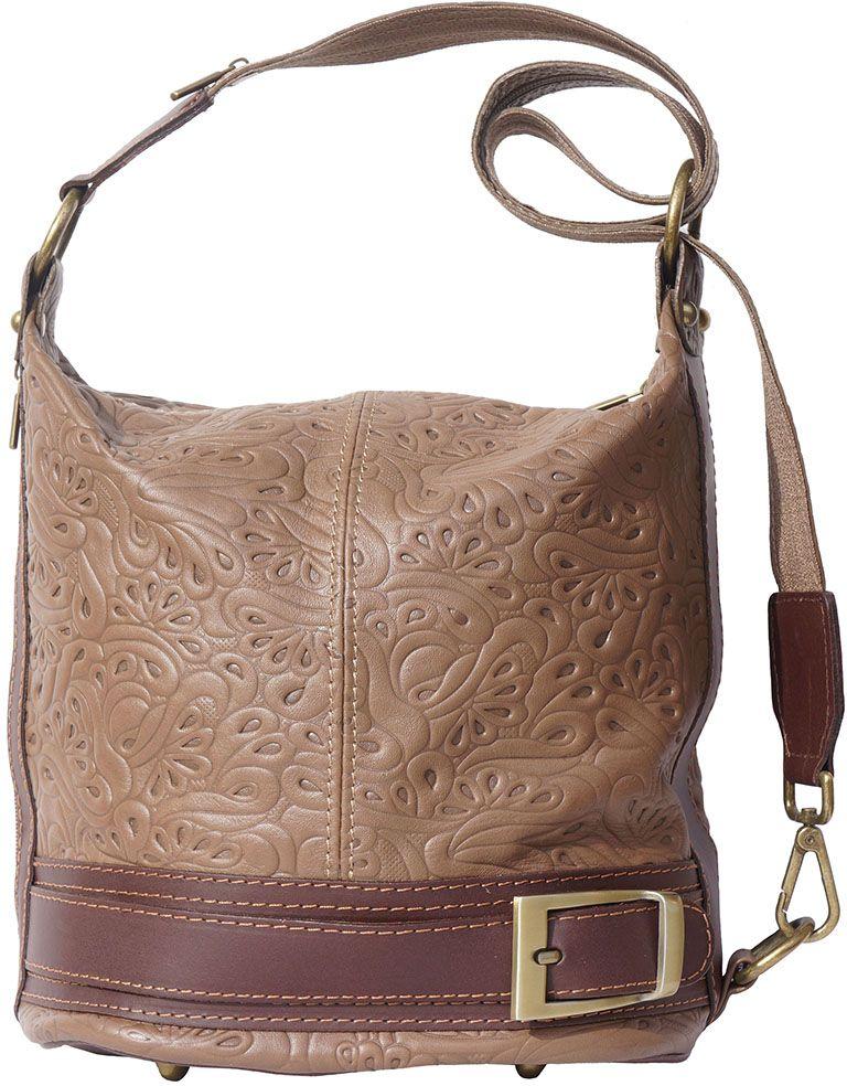 Δερμάτινη Τσάντα Ωμου Caterina Firenze Leather 300S Σκουρο Μπεζ Καφε 11a9e40a570