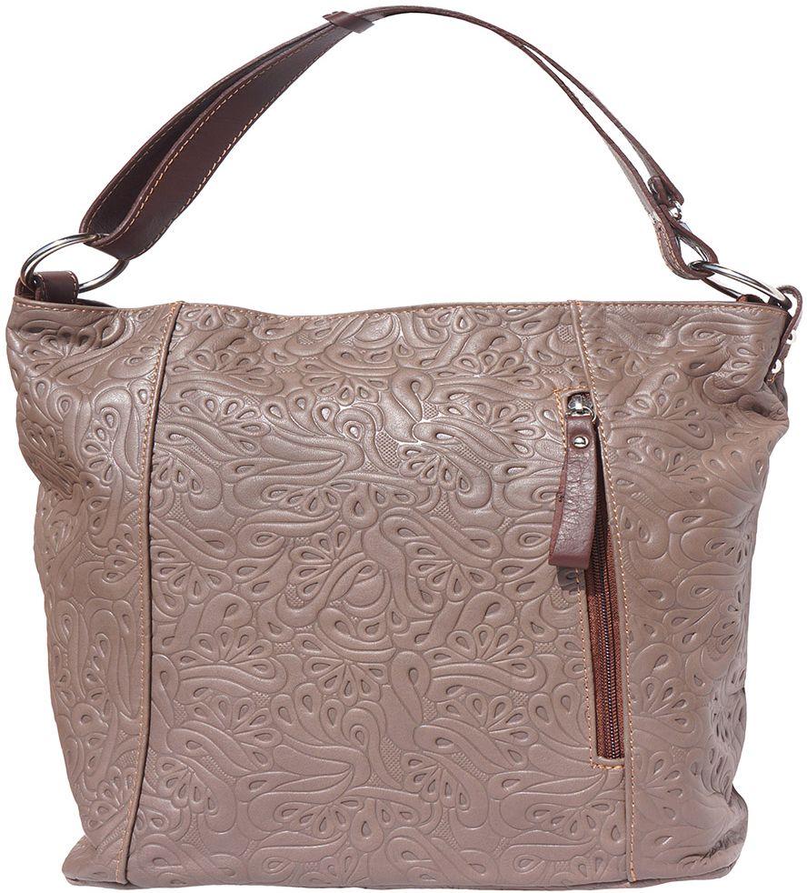 dbaa66ce4b Δερμάτινη Τσαντα Ωμου Lisa Firenze Leather 3016s Σκουρο Μπεζ Καφε