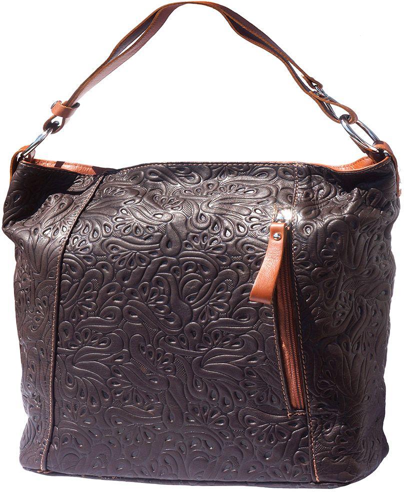 0faa4adf56 Δερμάτινη Τσαντα Ωμου Lisa Firenze Leather 3016s Σκουρο Καφε Μπεζ